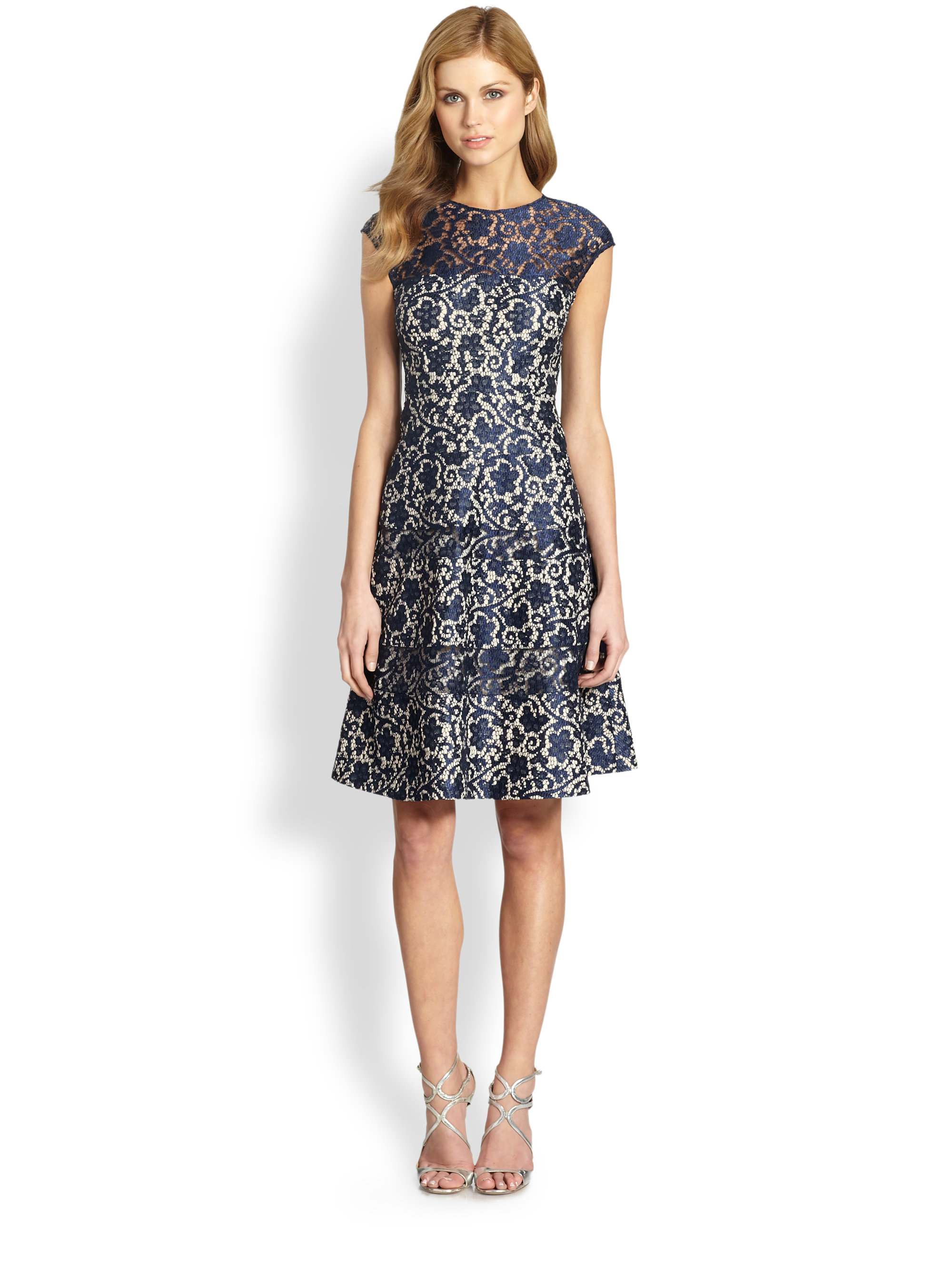 Kay Unger Lace Fit Amp Flare Dress In Blue Lyst