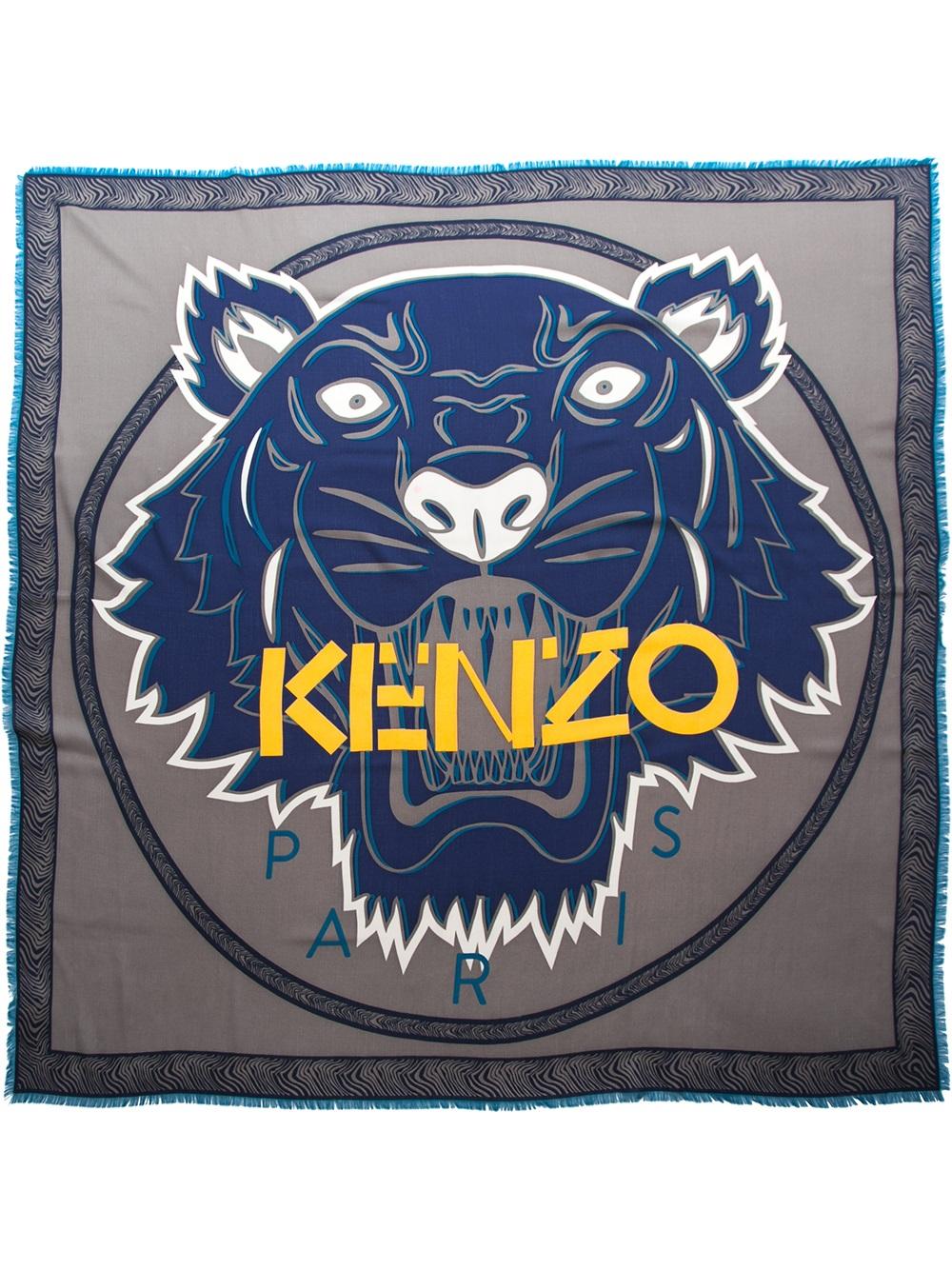 Kenzo Tiger Logo Scarf in Blue | Lyst