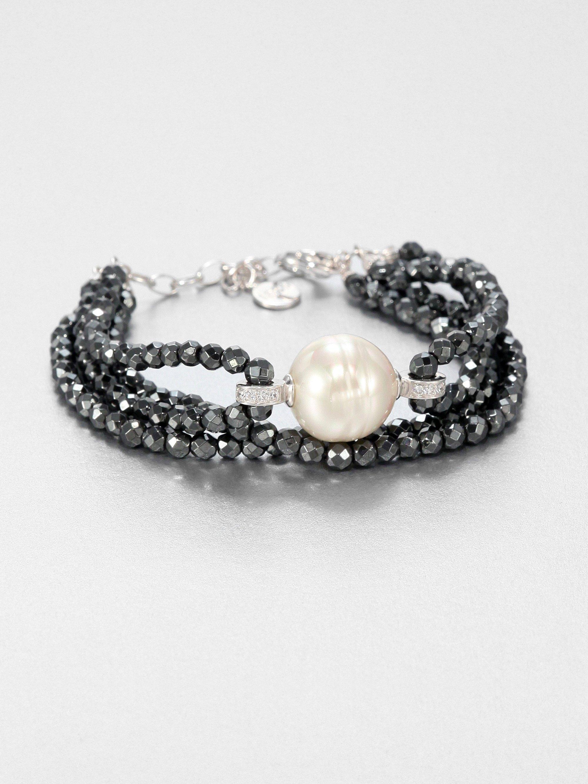 Majorica Baroque Pearl & Hematite Bracelet hozEE9X4