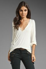 Michael Stars Essentials Long Sleeve Shirred Blouse in Cream - Lyst