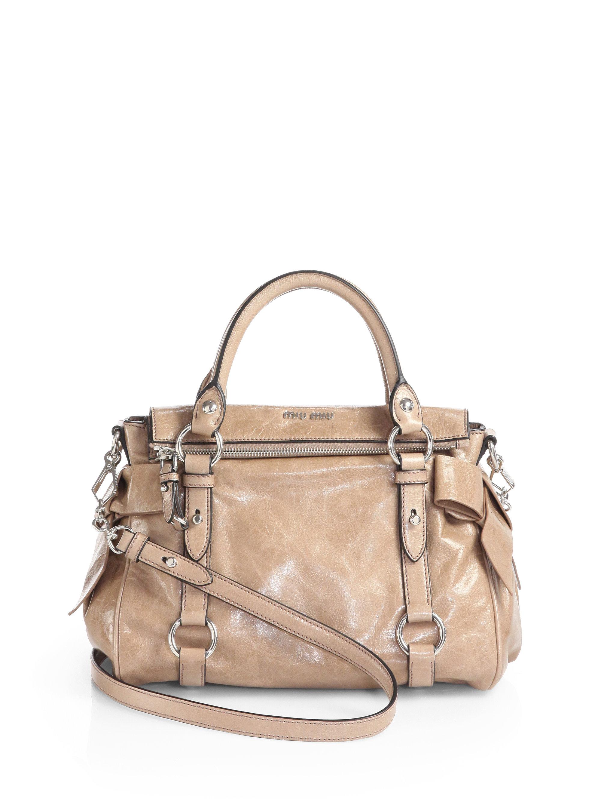 Lyst miu vitello lux mini bow satchel in natural jpg 2000x2667 Lux bow miu  vitello bags d91bb7f5c7