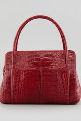 Nancy Gonzalez Linda Medium Crocodile Satchel Bag Red - Lyst
