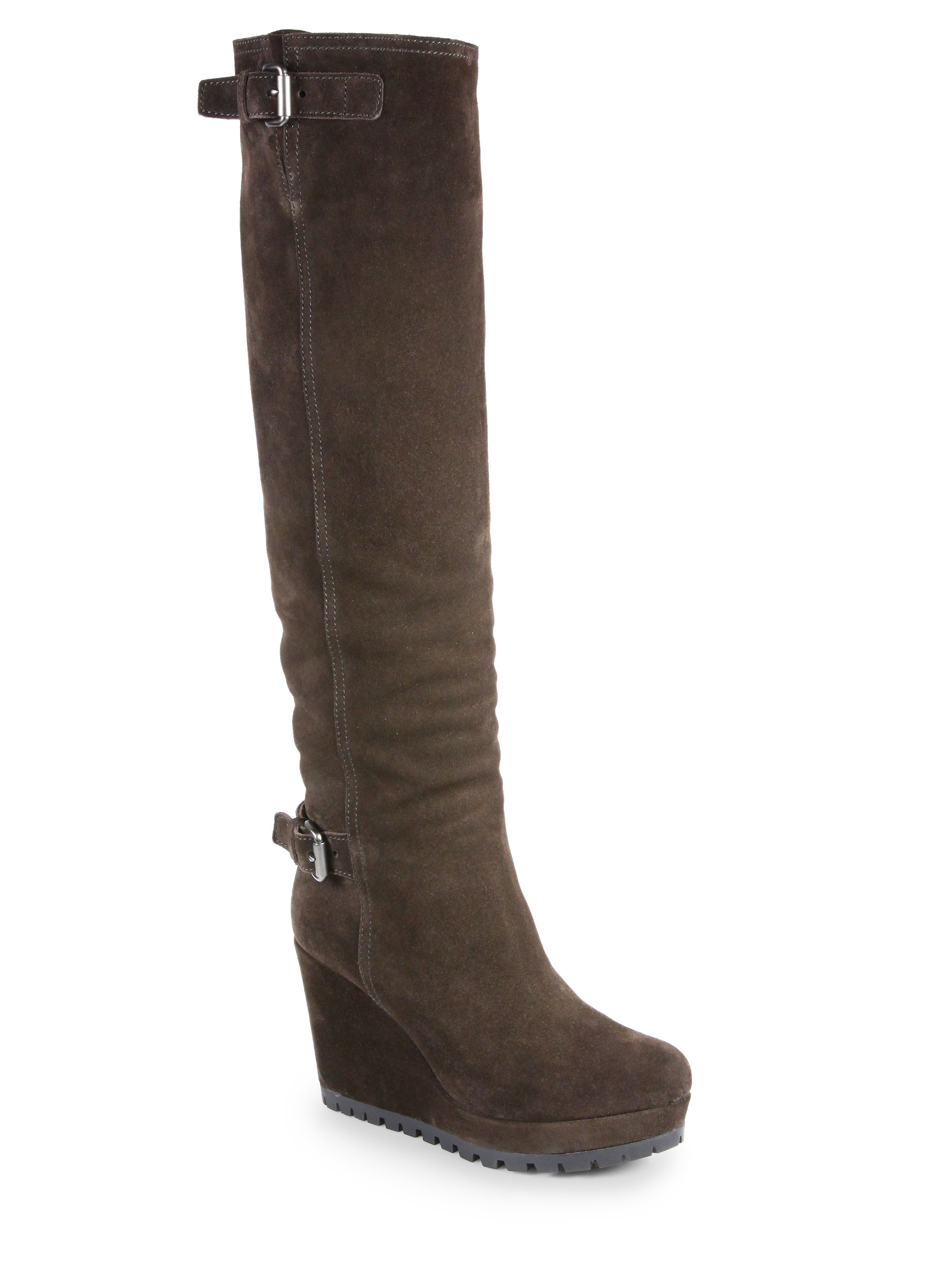 prada suede kneehigh wedge boots in brown moro brown lyst