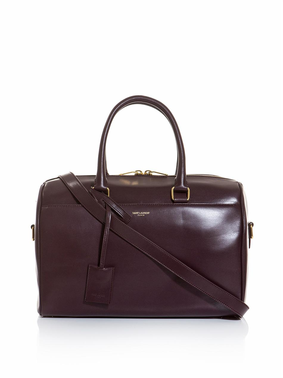 6c7f4a16bf Saint Laurent Leather Duffle Bag in Brown (burgundy)