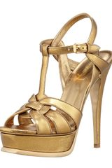 Saint Laurent Tribute Snakeembossed Platform Sandal - Lyst