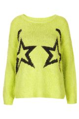 Topshop Knitted Fluffy Star Jumper - Lyst