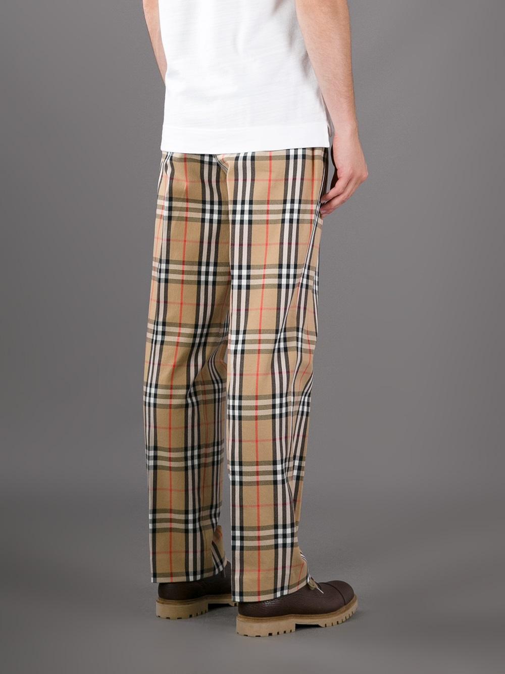 Lyst Burberry Haymarket Check Trouser In Natural For Men