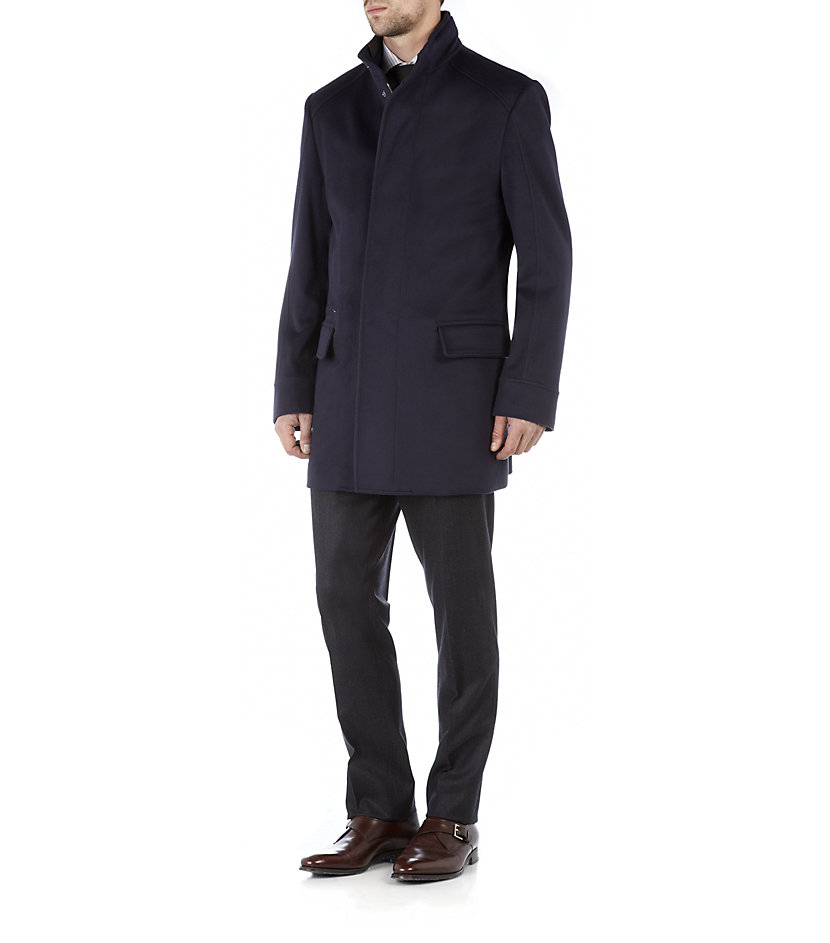 Corneliani Wool Car Coat with Leather Trim in Blue for Men | Lyst
