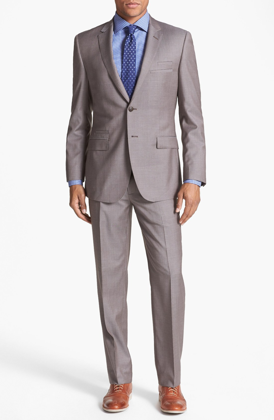english laundry trim fit wool suit in brown for men taupe