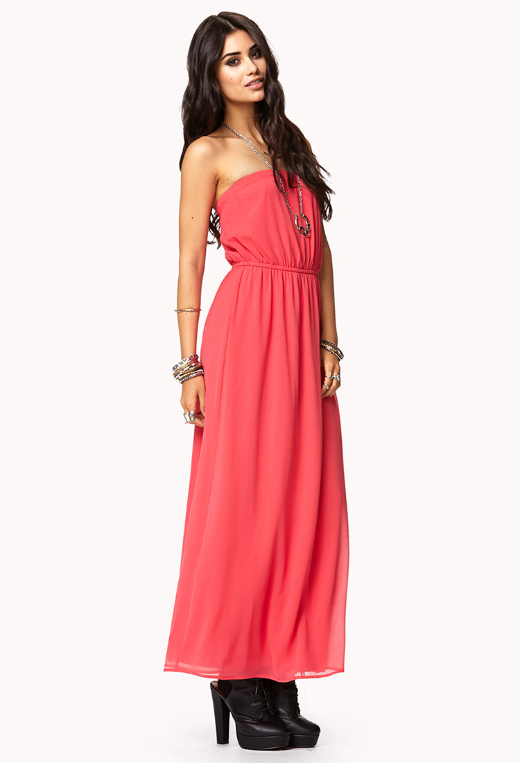 Pink Strapless Maxi Dress | Cocktail Dresses 2016- photo #50