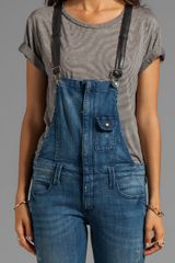 Frankie B. Jeans Hipster Overall with Leather Strap in Blue in Blue - Lyst