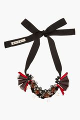 Marni Burgundy Beaded Ribbon_tied Statement Necklace - Lyst