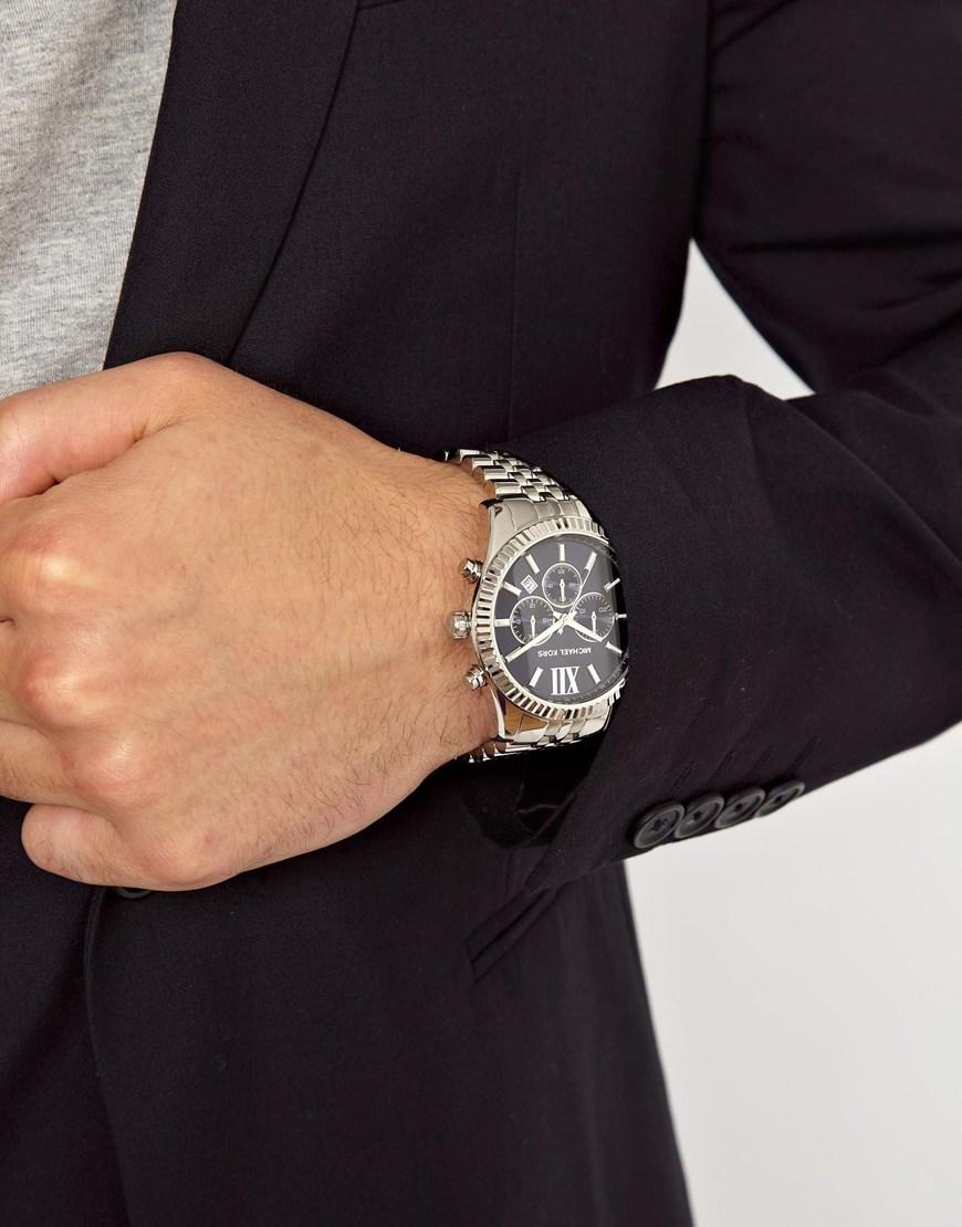 3b25dd528 Michael Kors Mk8280 Watch Lexington Chronograph Silver in Metallic ...