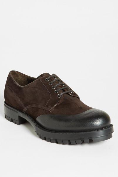 prada overlay buck shoe in brown for lyst