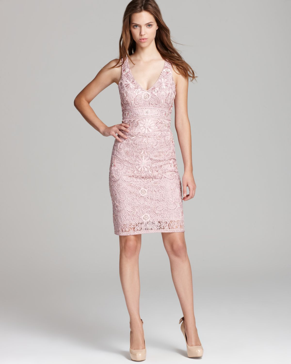 Sue wong Short Dress V Neck in Pink  Lyst