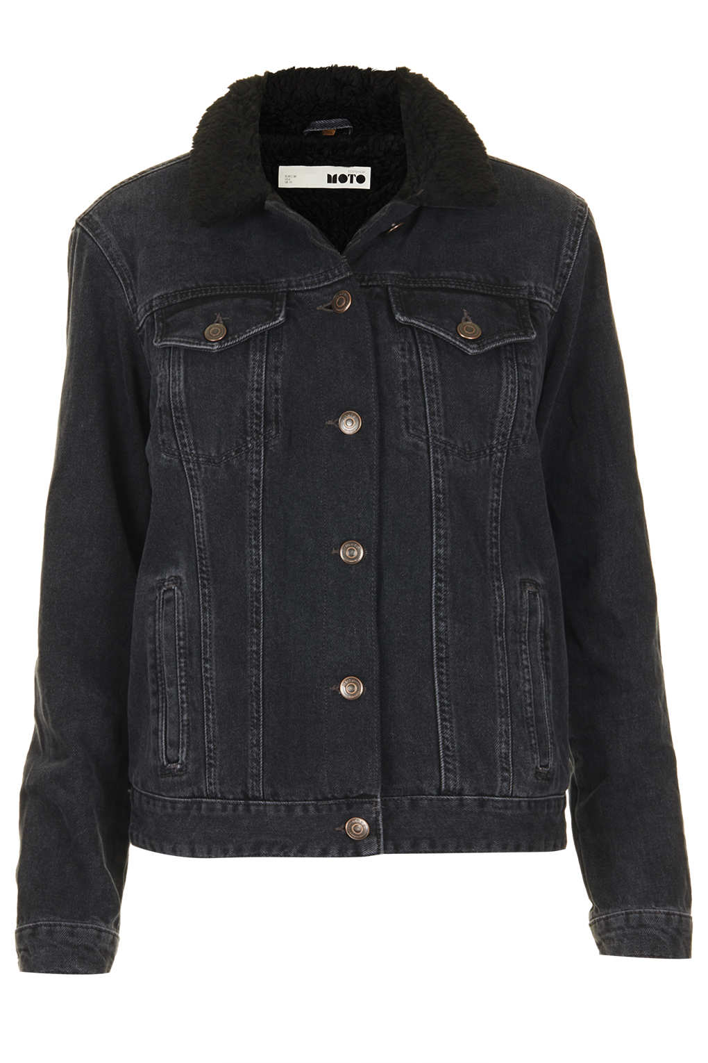 Black denim jacket hardcore pussy for Womens denim shirts topshop