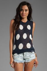 Wildfox Couture Polka Dot It Trailer Cut Off Tee in Navy - Lyst