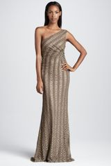 David Meister Oneshoulder Striped Gown - Lyst