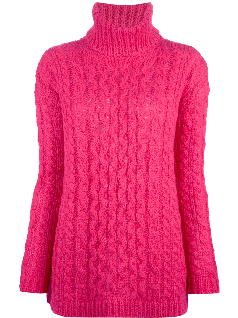 Dondup Cable Knit Sweater in Pink | Lyst