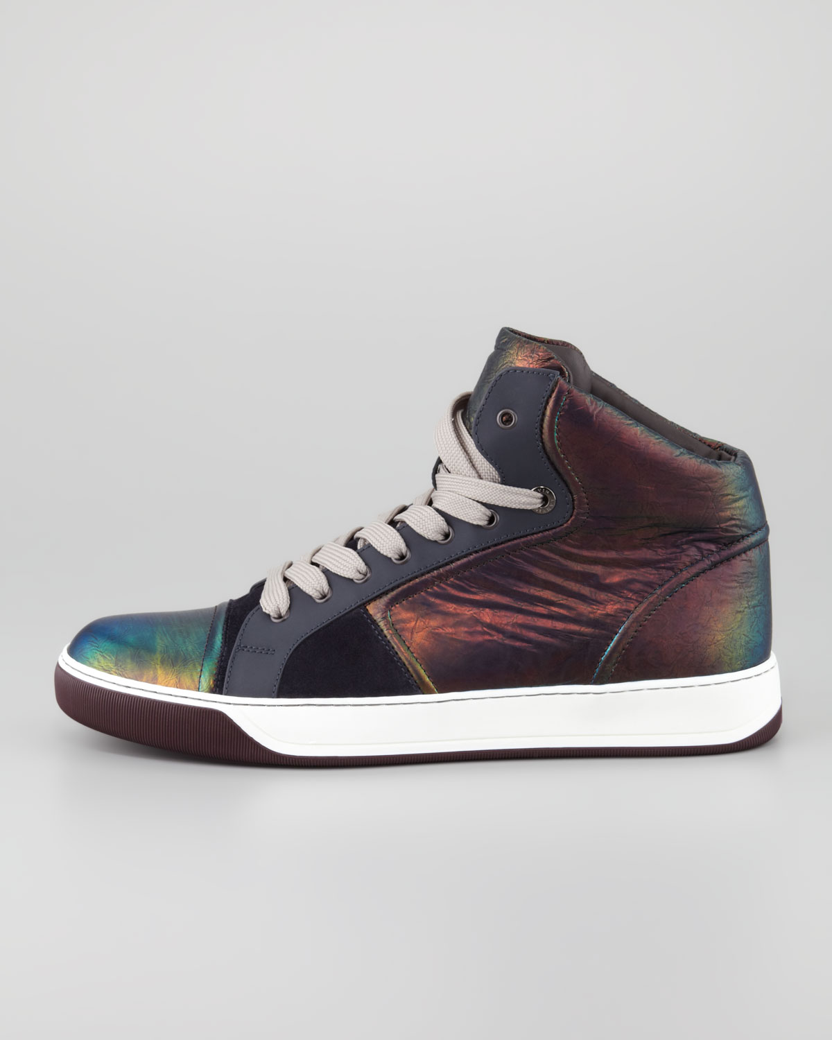 d967a17b01d8 Lyst - Lanvin Iridescent Leather Hightop Sneaker in Blue for Men