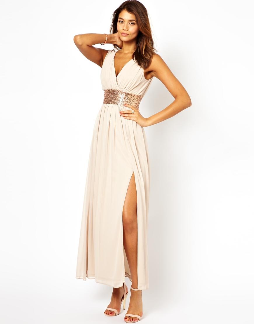 Lyst - Asos Sequin Grecian Maxi Dress in White