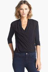James Perse Drape Front Blouse - Lyst
