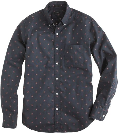 tall slim foulard print shirt in blue for men