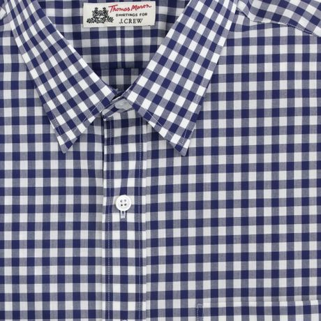 Thomas mason for j crew ludlow shirt in vintage for Navy blue gingham shirt
