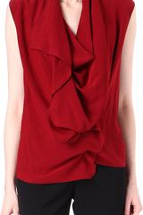 Lanvin Sleeveless Ruffle Top - Lyst