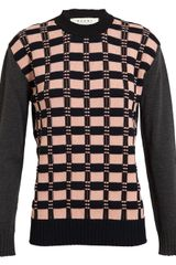Marni Textured Check Wool-blend Jumper - Lyst