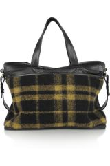 Newbark Snakestamped Leather and Plaid Felt Weekend Bag - Lyst