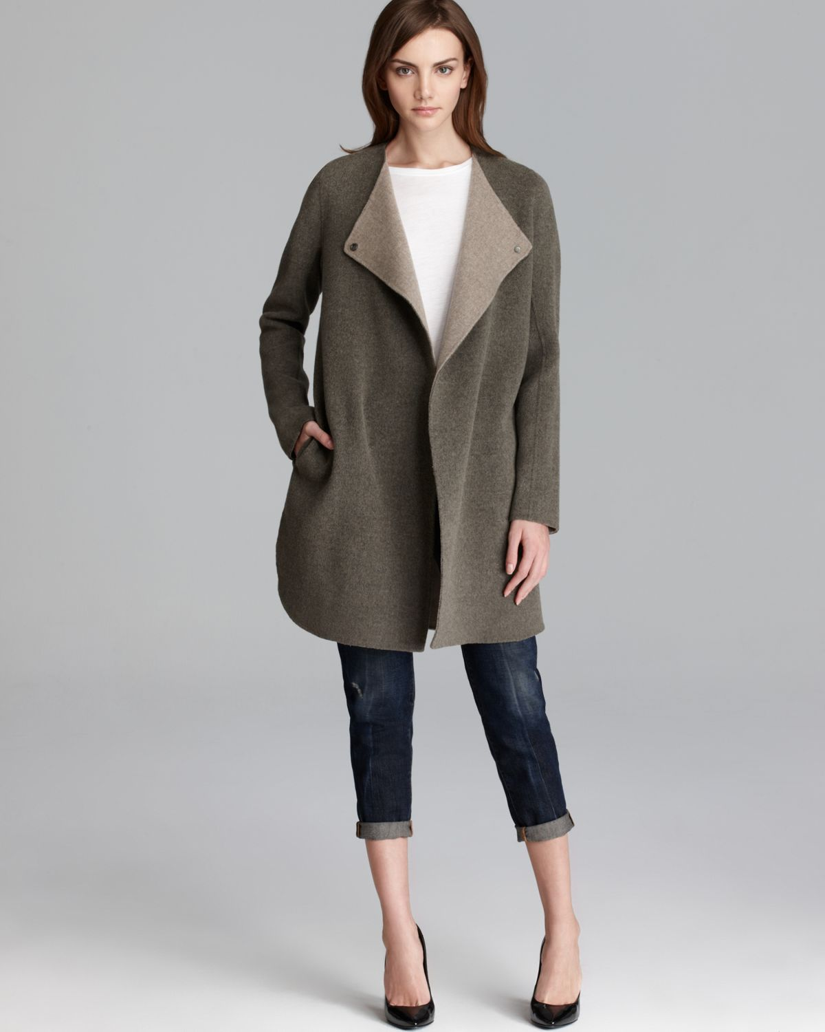Vince Sweater Coat Double Face Asymmetric In Green Lyst