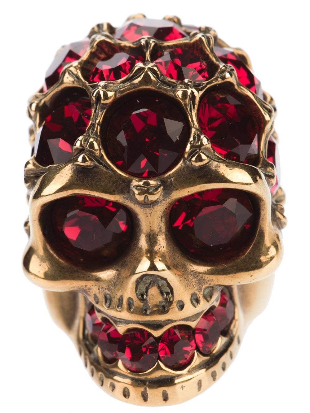 Alexander Mcqueen Crystal Skull Ring In Gold Purple Lyst