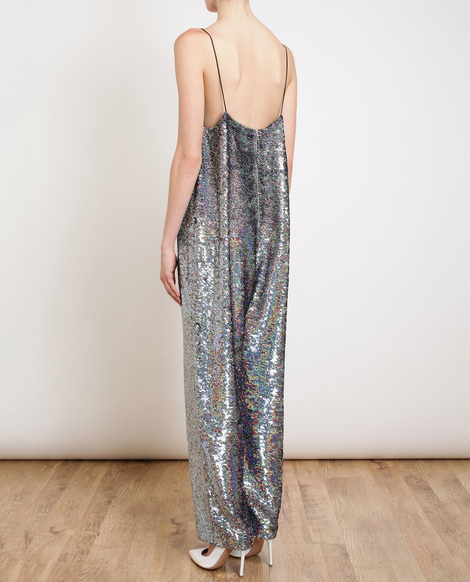 e508464f26b Ashish Holographic Sequin Jumpsuit in Silver