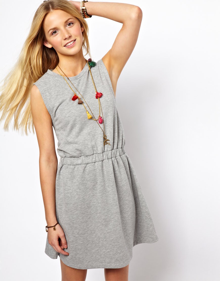 Lyst asos skater dress in sweat in gray for How to not sweat through dress shirts