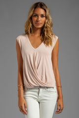 BCBGMAXAZRIA Vneck Drape Top in Blush - Lyst