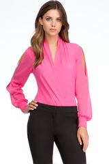 Bebe Long Sleeve Silk Wrap Bodysuit - Lyst