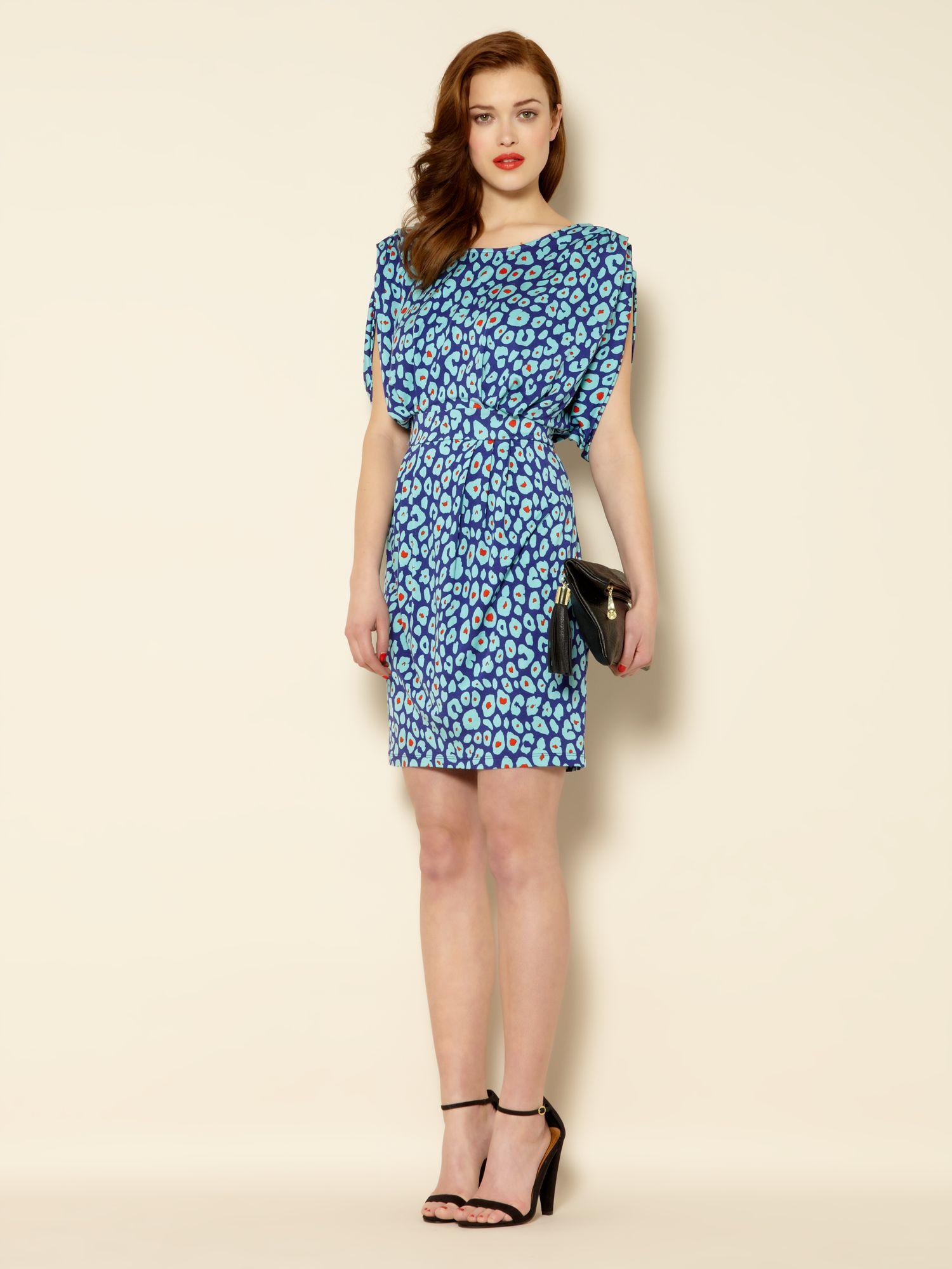 c315972c569 Biba Leopard Print Drape Jersey Dress in Blue - Lyst