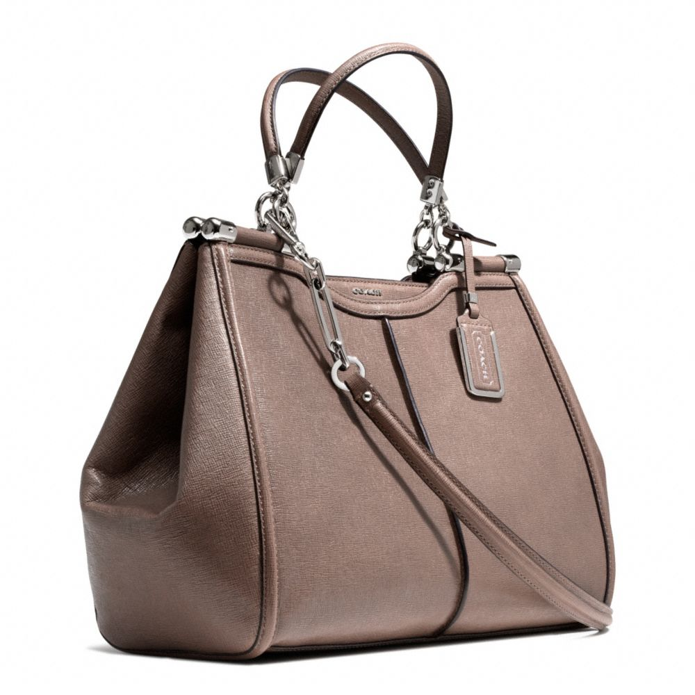 e2535a7dd889 ... spain lyst coach madison caroline satchel in textured leather in gray  c5152 26ff4 ...