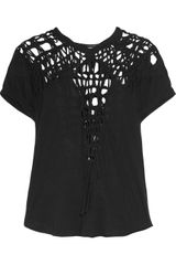 Isabel Marant Temo Crocheted Cotton Tshirt - Lyst
