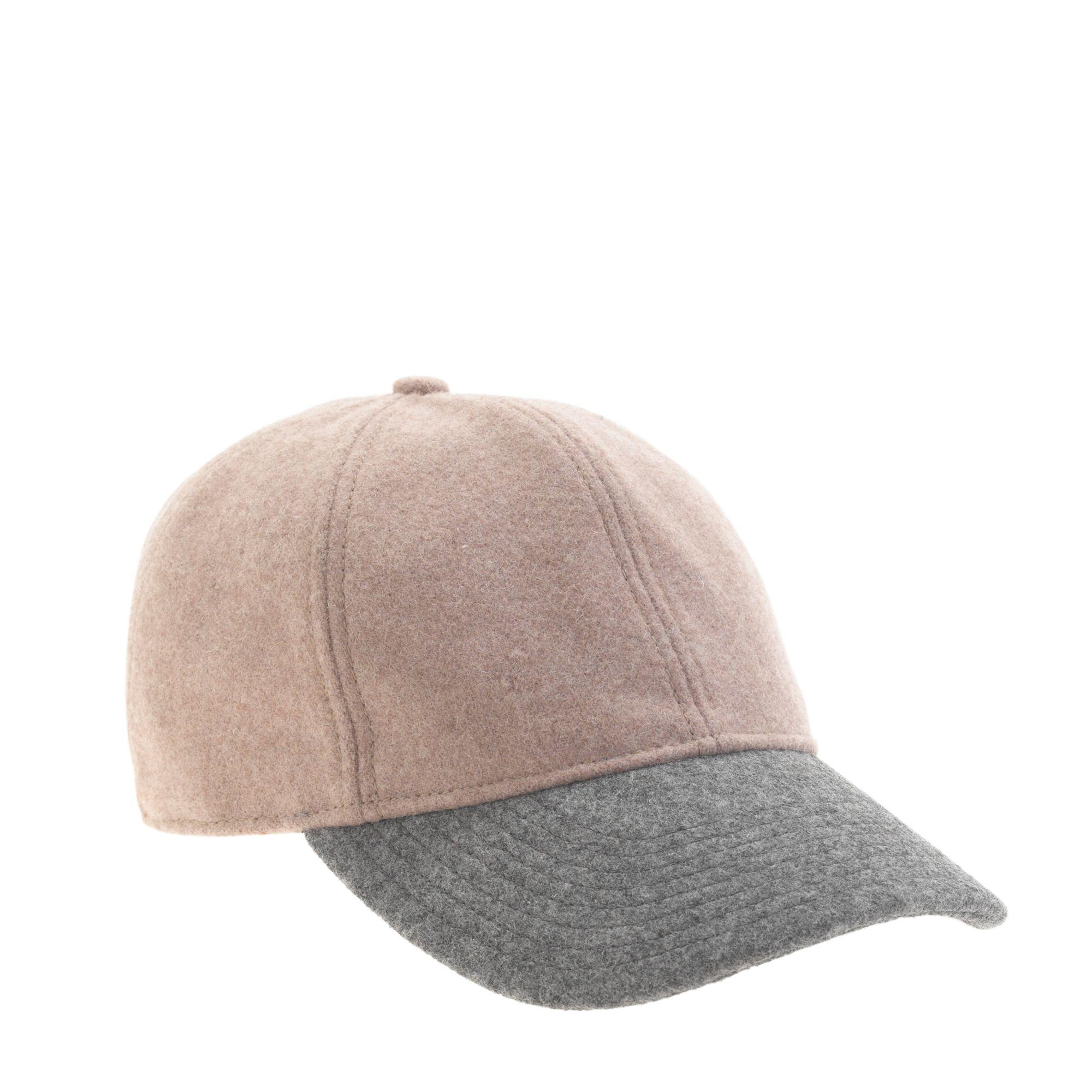 j crew colorblock wool baseball cap in beige beige grey