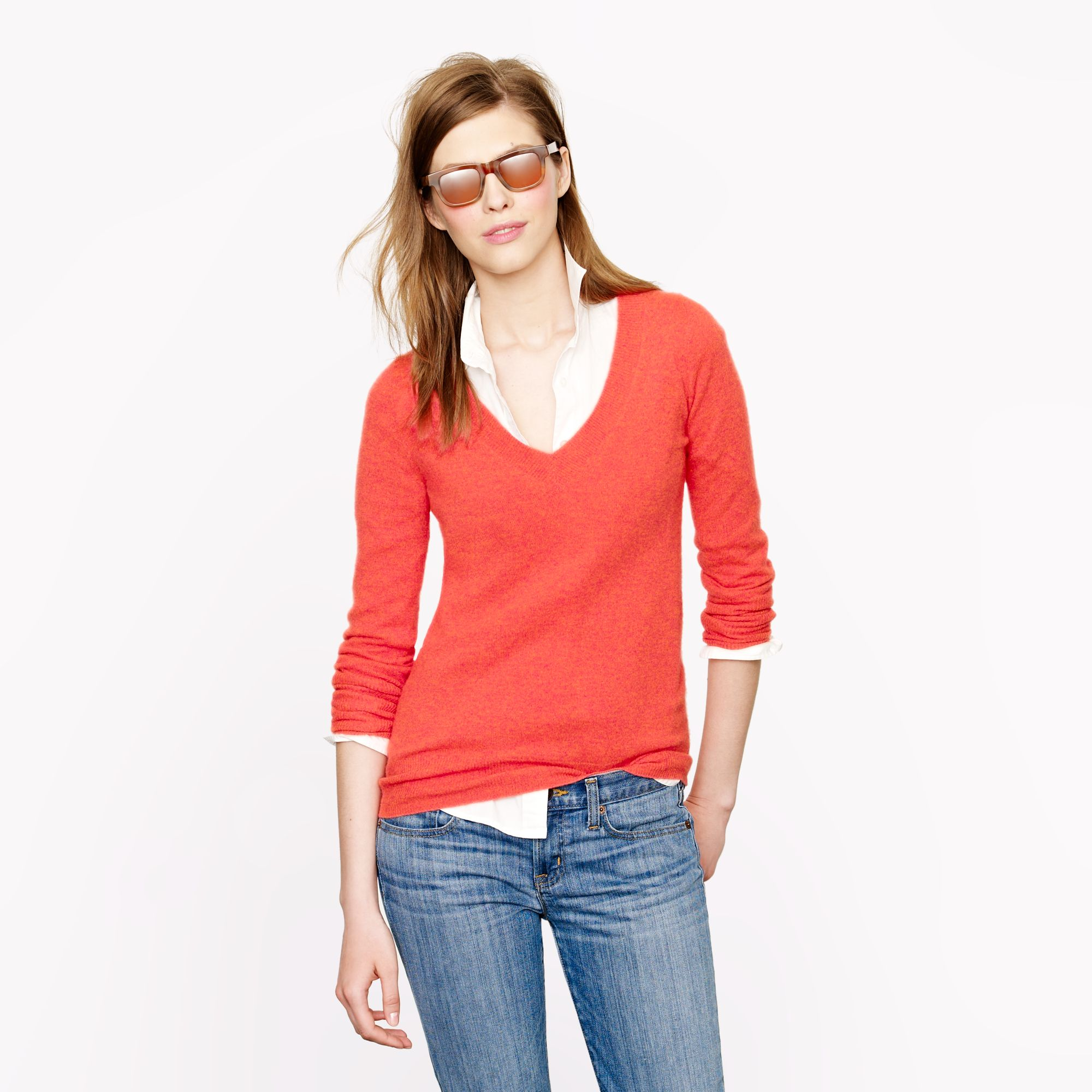 J.crew Collection Cashmere V-neck Sweater in Red | Lyst