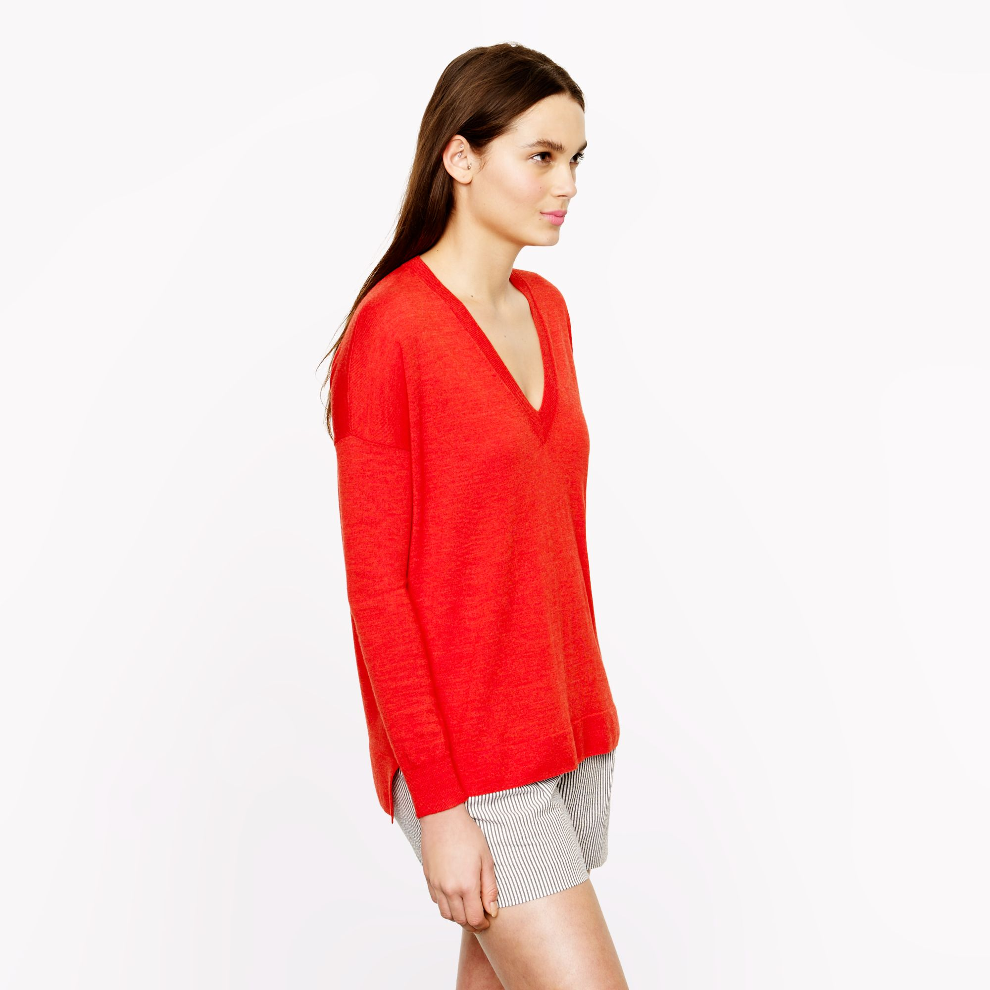 J.crew Merino Boyfriend Sweater in Red | Lyst