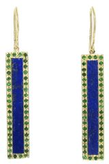 Jennifer Meyer Lapis and Emerald Bar Earrings - Lyst