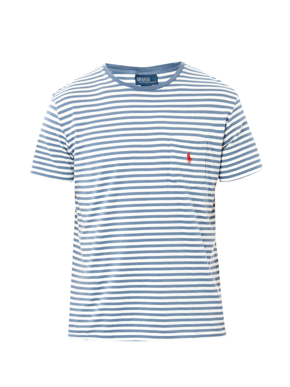 lyst polo ralph lauren stripe pocket tshirt in blue for men. Black Bedroom Furniture Sets. Home Design Ideas