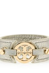 Tory Burch Metallic Logo Skinny Double Snap Cuff - Lyst