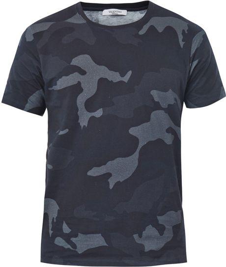 Valentino Camo Print T Shirt In Gray For Men Camo Lyst