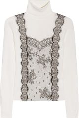 Valentino Lace Detailed Wool Blend Turtle Neck Sweater - Lyst