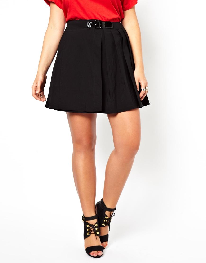 asos curve kilt mini skirt in black lyst