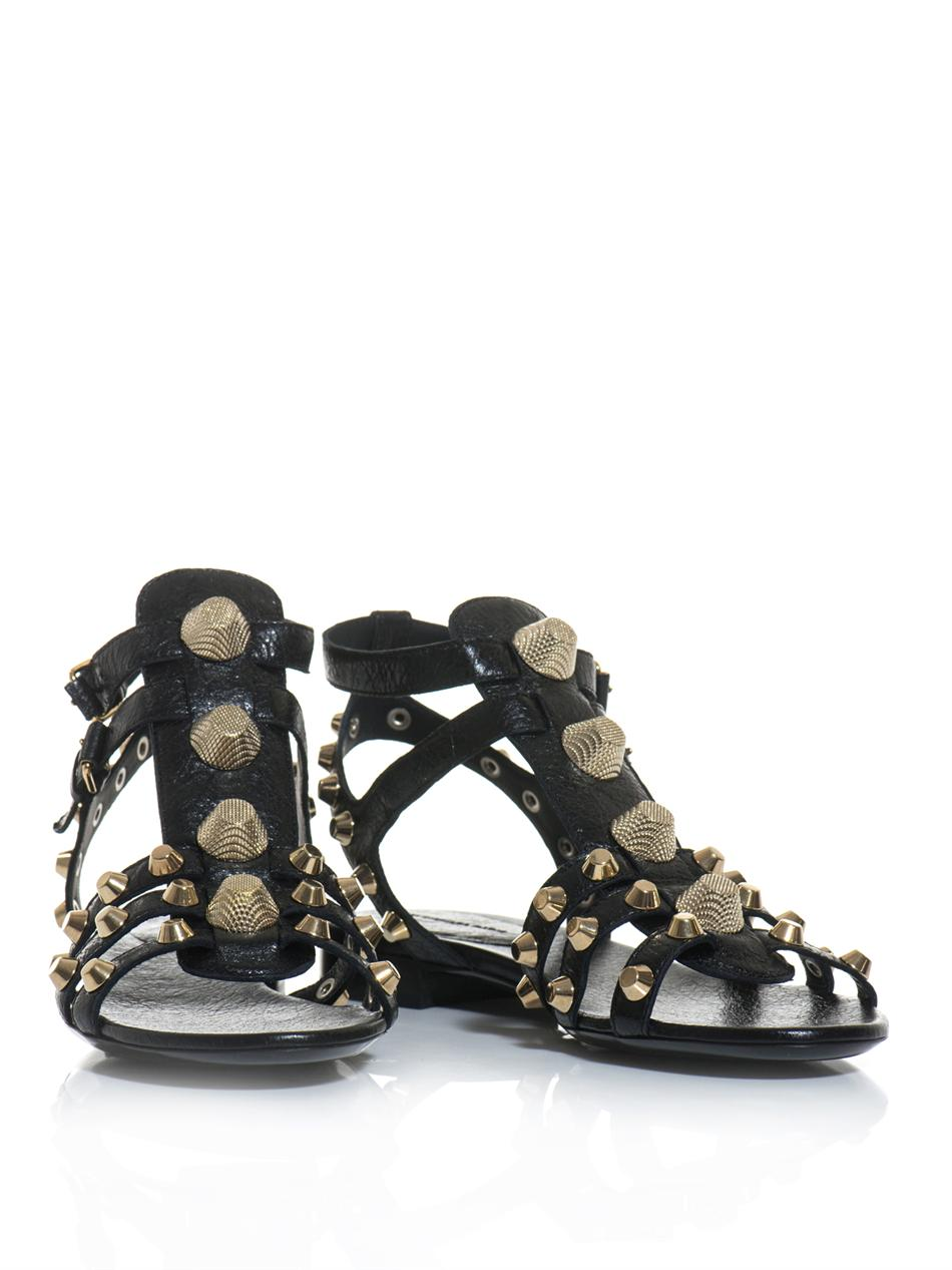 Lyst Balenciaga Arena Stud Gladiator Sandals In Black